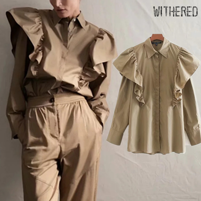 Withered England Elegant Ruffles Poplin Cotton Personality Blouse Women Blusas Mujer De Moda 2019 Shirt Womens Tops And Blouses