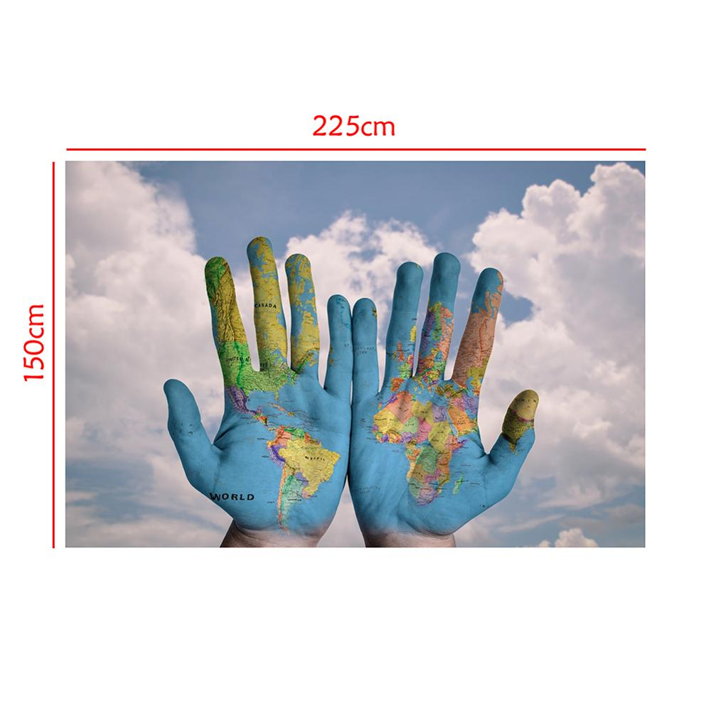150x225cm Hands Shape World Map Projection Home Office Wall Decor Collapsible Map