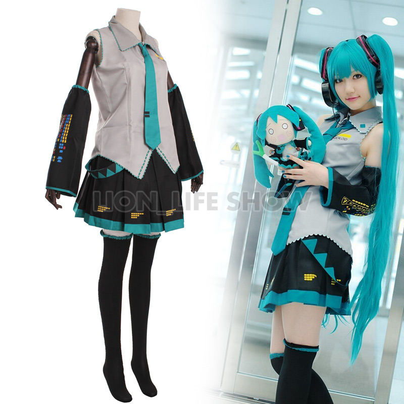 Hatsune Miku Cosplay Vocaloid Full Set Cosplay Costume Outfits Anime Cosplay Harajuku Costumes 120cm Wig