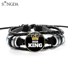 SONGDA Fashion Her King His Queen Lover Couple Bracelets Glass Cabochon 3D Effect Charm Leather Wristband Valentine's Day Gift(China)