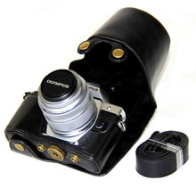 高品質レザーケースオリンパスEM10 ii iii E M10マークii E M10マークiii 14 42ミリメートルカメラバッグストラップ黒/ブラウン/コーヒー