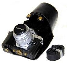 Yüksek kaliteli deri kılıf kapak için Olympus EM10 II III E M10 Mark II E M10 Mark III 14 42mm kamera çantası askısı siyah/kahverengi/kahve