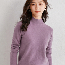 Half-High Neck Long Sleeve Sweaters for Women 100% Cashmere and Wool Knitting Winter New Fashion Soft Female Pullovers Hot Sale