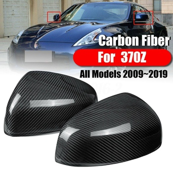 1 Pair Rearview Mirror Cover, Carbon Fiber Side Rear View Mirror Cover Cap for Nissan 370Z Z34 2009-2019