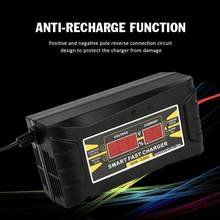 Carregador de bateria de carro automático completo 12v 6a inteligente rápido chumbo-ácido carregador de bateria para a motocicleta do carro display lcd novo