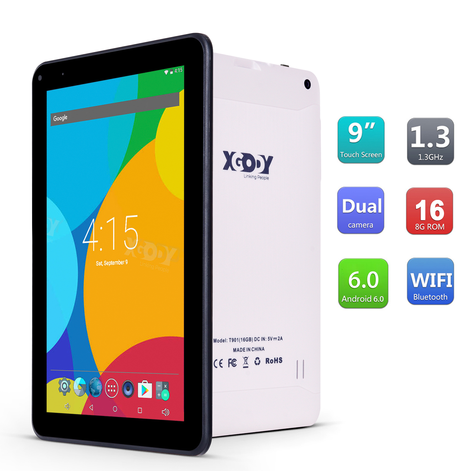 9 inch Android tablet Pc Android 6.0 Quad Core Wifi Tablet 1 GB + 16 GB dual 2.5D HD screen