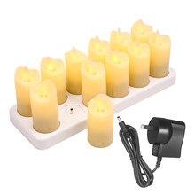 12 velas flameless recarregáveis do diodo emissor de luz amarelo morno realístico das velas sem fio elétricas com chama cintilante