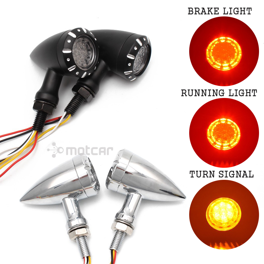Motorcycle Flashing LED Turn Signals Brake Blinker Light 12V For Harley Chopper Cruiser Bobber Cafe Racer Black Indicator Light