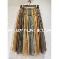 Cotton macaron color skirt women's skirt summer 2020 elegant casual skirt High quality rainbow skirt casual high waist skirt