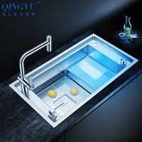 Luxus Trat Waschbecken 304 Edelstahl Küche Waschbecken 4mm Dicke 220mm Tiefe Große Größe Handgemachte Gebürstet Trat Küche waschbecken