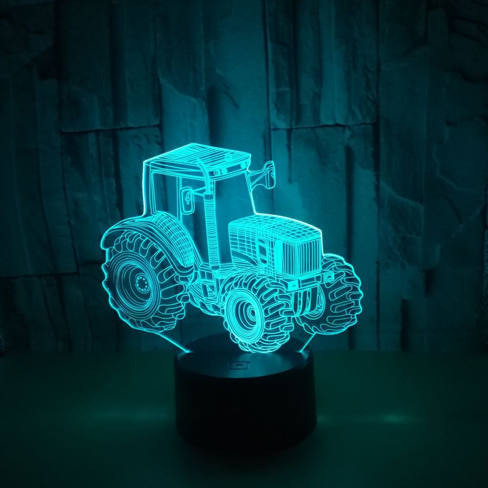 New Style Tractor 3D Night Lamp Colorful Touch Control Remote Control Creative Gifts Atmosphere Stereo 3D Small Table Lamp