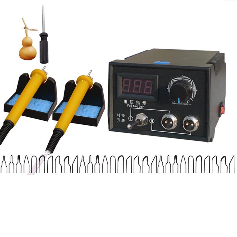 Tools : 60W Soldering Irons Wood Burning Set AC 220V 110V Digital Display Crafts Pyrography Pen Machine Kit EU US Plug Soldering Tools