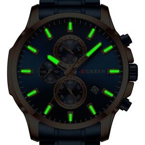 Image 5 - CURREN Relojes de pulsera con cronógrafo de cuarzo para hombre, Reloj de negocios informal, de acero inoxidable, con fecha, multifunción