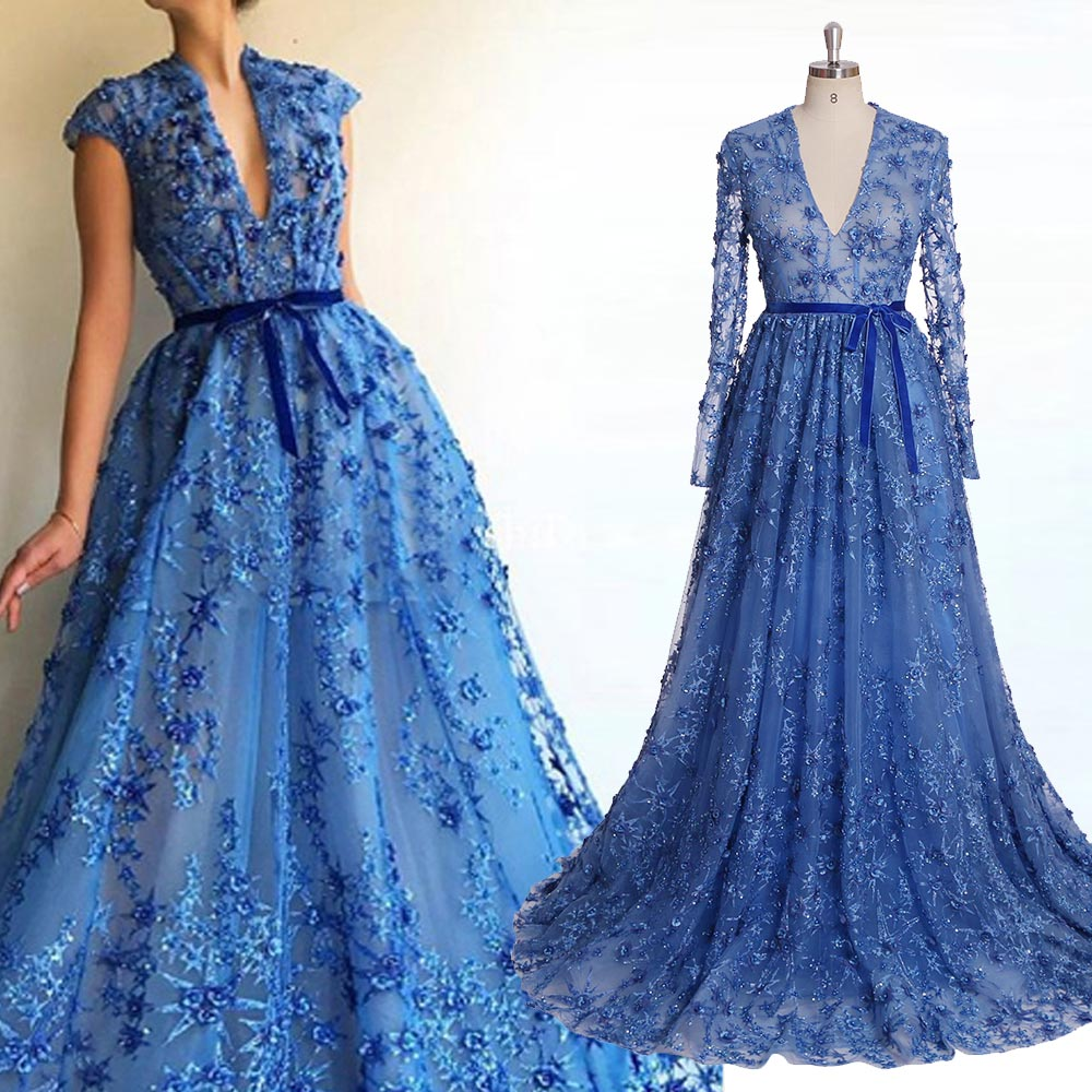 royal blue formal dresses evening gown sexy long dresses evening women  evening dress Plus size muslim evening dress YM5