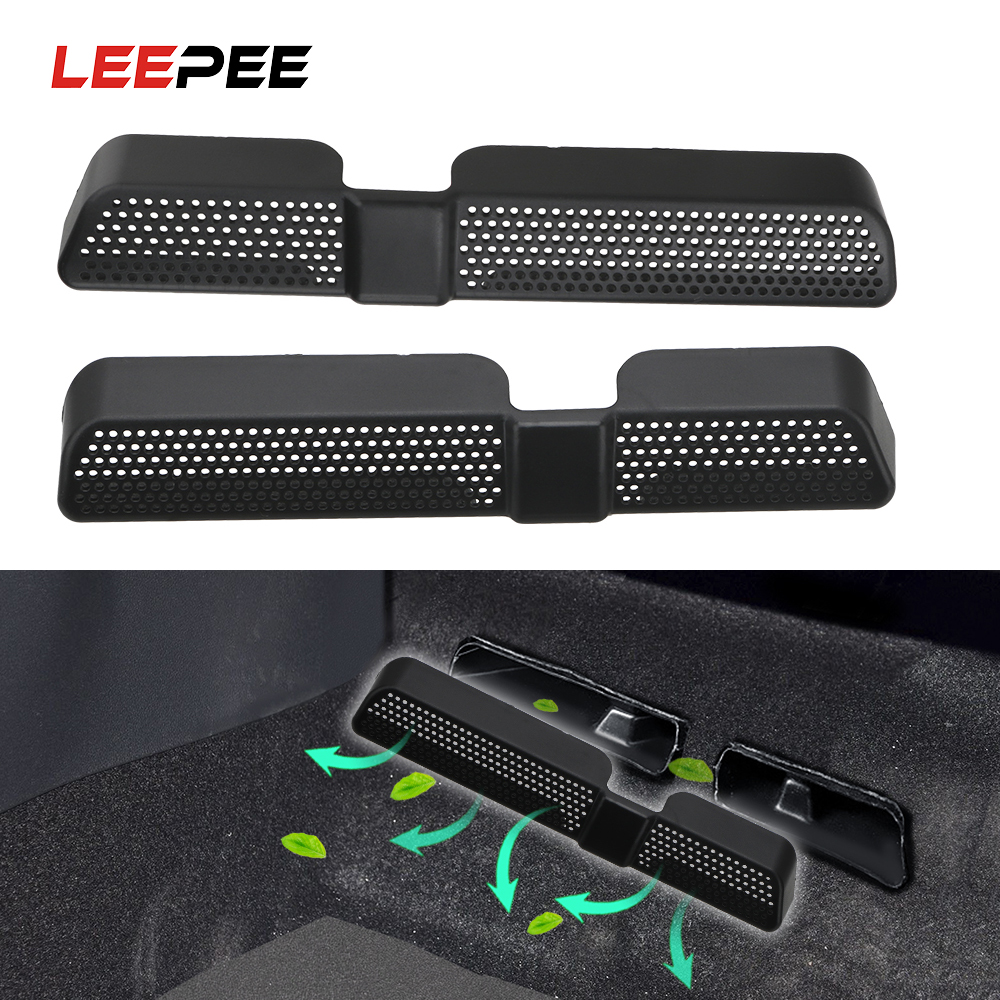 LEEPEE 2PCS/Set Dustproof ABS Car Air Outlet Cover Back Seat Under Ventilation Car Vent Cover For Skoda Kodiaq 2016 2017 2018