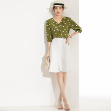 Silk suit new female 2020 summer dress printing mulberry silk blouse + skirts two-piece YN2156(China)