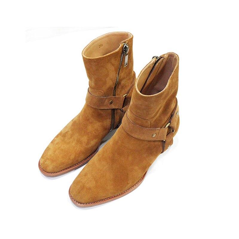 Estilo alto hecho a mano con hebilla de correa de anillo Unisex botas de Chelsea de cuero de cuña de mezclilla botas de arnés de banquete - 2