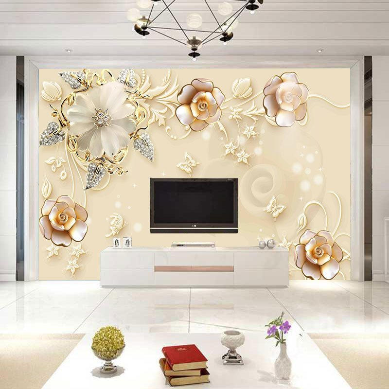 European Style TV Backdrop 3D Mural Modern Minimalist 5D Wall Cloth Glorious Decoration Living Room Jewelry Wallpaper