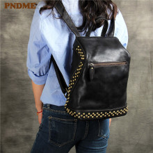 PNDME ladies genuine leather backpack casual simple black designer handmade rivet cowhide travel bagpack luxury women's bookbag
