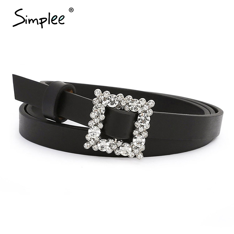 Simplee Square Faux PU Leather Belt Women Crystal Chic Geometric Statement Belts Female Jewelry Ladies Dress Pants Accessories