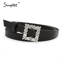 Simplee Square faux PU leather belt women Crystal chic geometric statement