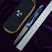 NKAIED JR7394 Flipper Folding Knife VG10 Damascus Blade Titanium Handle Camping Hunting Survival Pocket Kitchen Knife EDC Tool