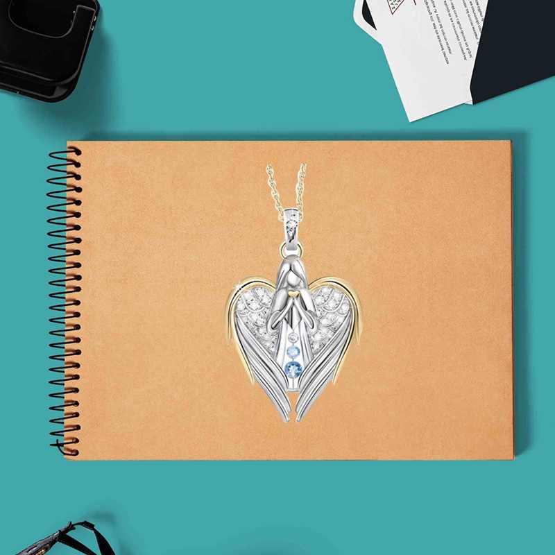 1pc or argent cristal Zircon strass conception ange ailes chandail chaîne pendentifs colliers pour femmes Angle fille cadeau