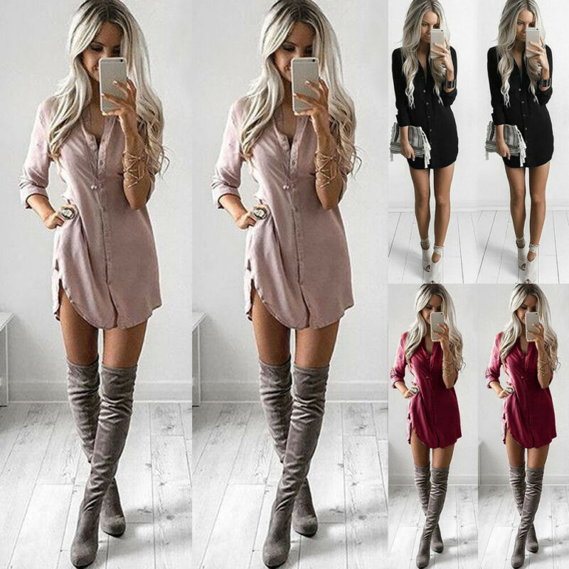 Fashion Women's Summer Ladies Long Sleeve Loose Blouse Casual Shirt Dress Tunic Summer Tops V Neck Button Down Top Sundress