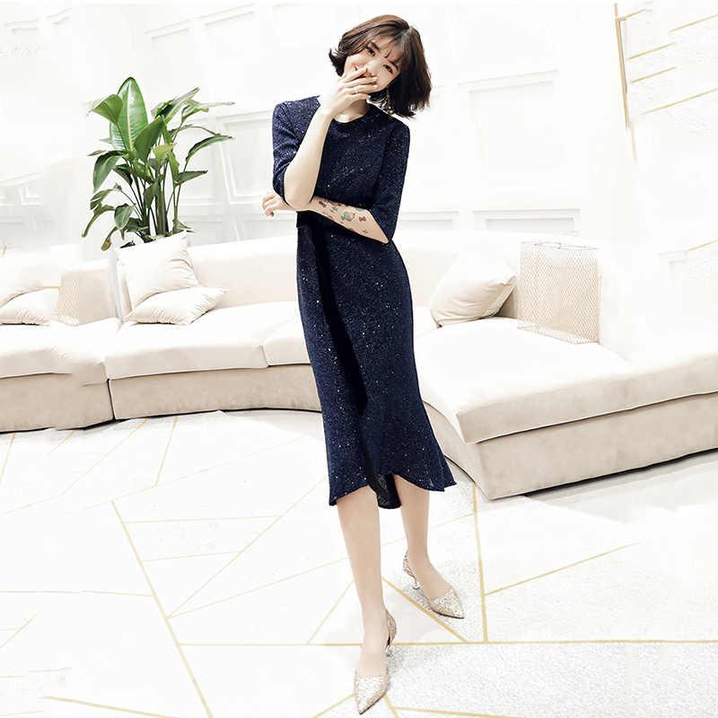 שמלות נשף שחור הניצוץ נצנצים O-צוואר פורמליות שמלות תה-אורך בת ים אלגנטי לנשף שמלות Robe דה Soiree עבור בנות 2020 k149