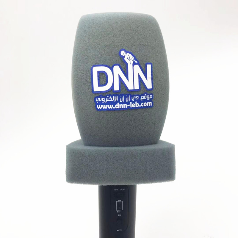 Linhuipad General Purpose Print LOGO Microphone Windscreens Handheld Mic Windshield Mic Foam Covers For TV Journalist