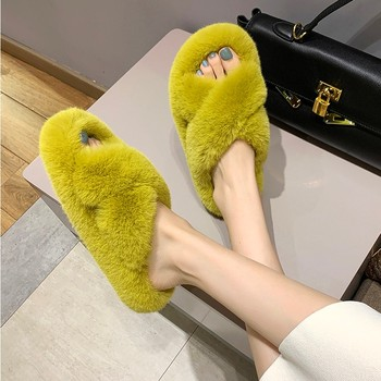 Women Winter House Slippers Cute Plush High Heels Fluffy Warm Shoes Thick Sole Ladies Girls Indoor Outdoor Bedroom Fur Slides - discount item  23% OFF Women's Shoes
