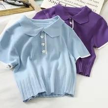 Camisa do sexo feminino blusa mulher de malha botão até blusas bonito 2021 verão camisa polo feminino blusa de manga curta camisas femininas