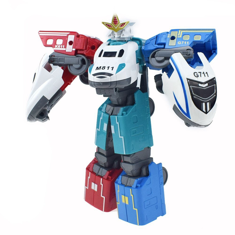 3 In 1Transformation Toy Creative Mini Deformation Robot Toy High-speed Rail Cartoon Robot Model For Children Gift