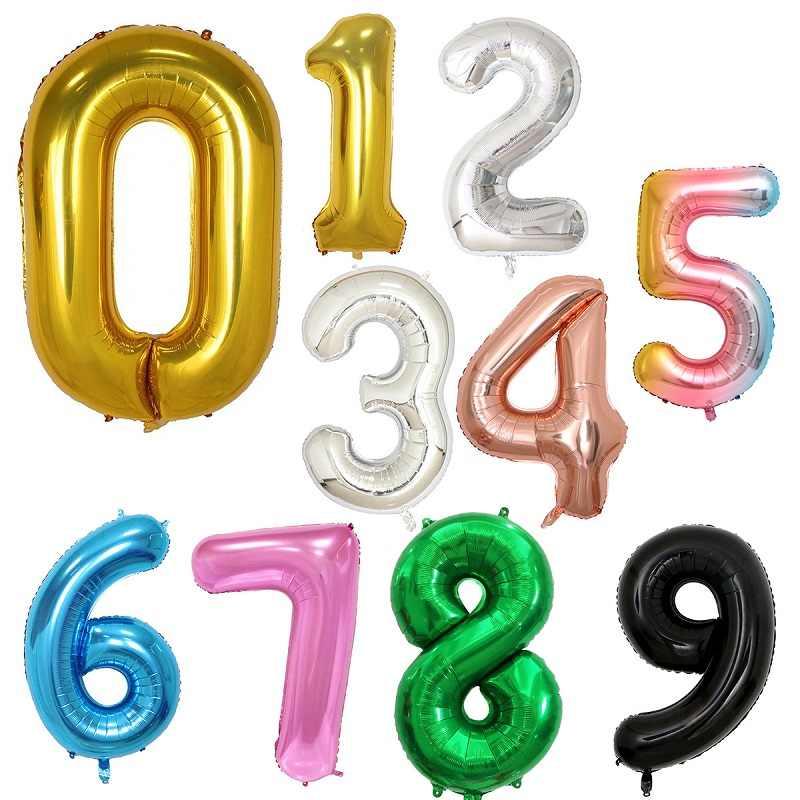 32 นิ้วฟอยล์บอลลูนAirฮีเลียมบอลลูนจำนวนตัวเลขHappy Birthday Partyตกแต่งเด็กบอลลูนวันเกิดBalon