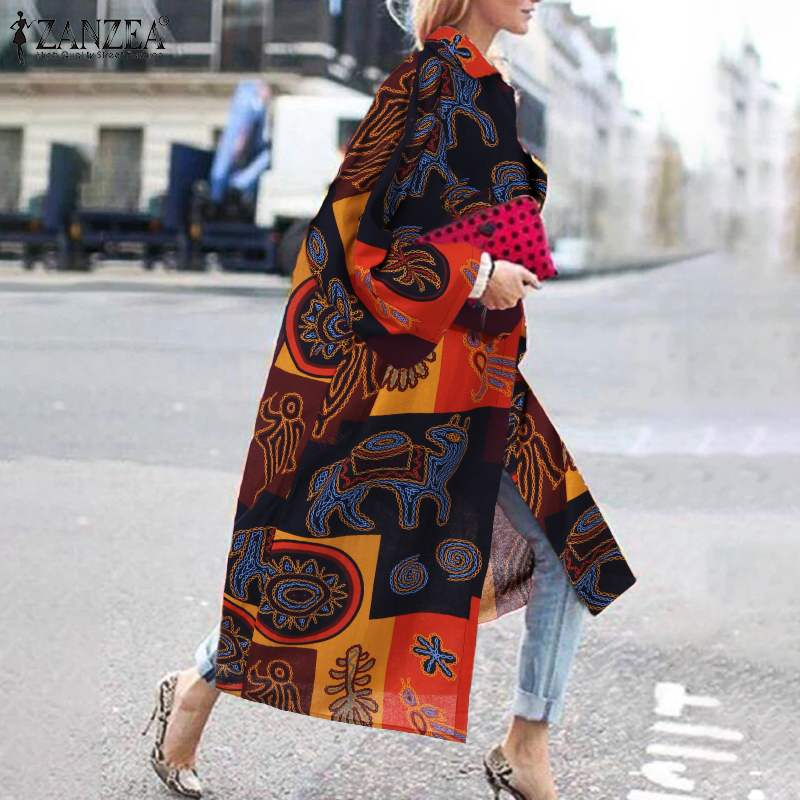 2020 ZANZEA Vintage Printed Cardigan Women Open Front Cotton Coat Female Lapel Neck Long Sleeve Casual Outwear Plus Size Jackets