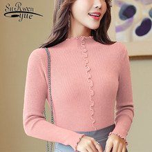 Autumn and winter women sweaters and pullovers 2019 ladies sweater Computer Knitted Ruched Solid pink long sleeve tops 6361 90(China)