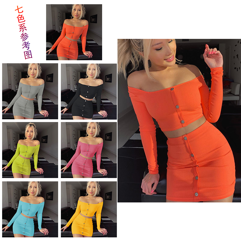 Womens Set Sexy Two Piece Solid Color Button Off Shoulder Long Sleeve Crop Top&High Waist Skirts Suit Fashion Summer Womens 2019