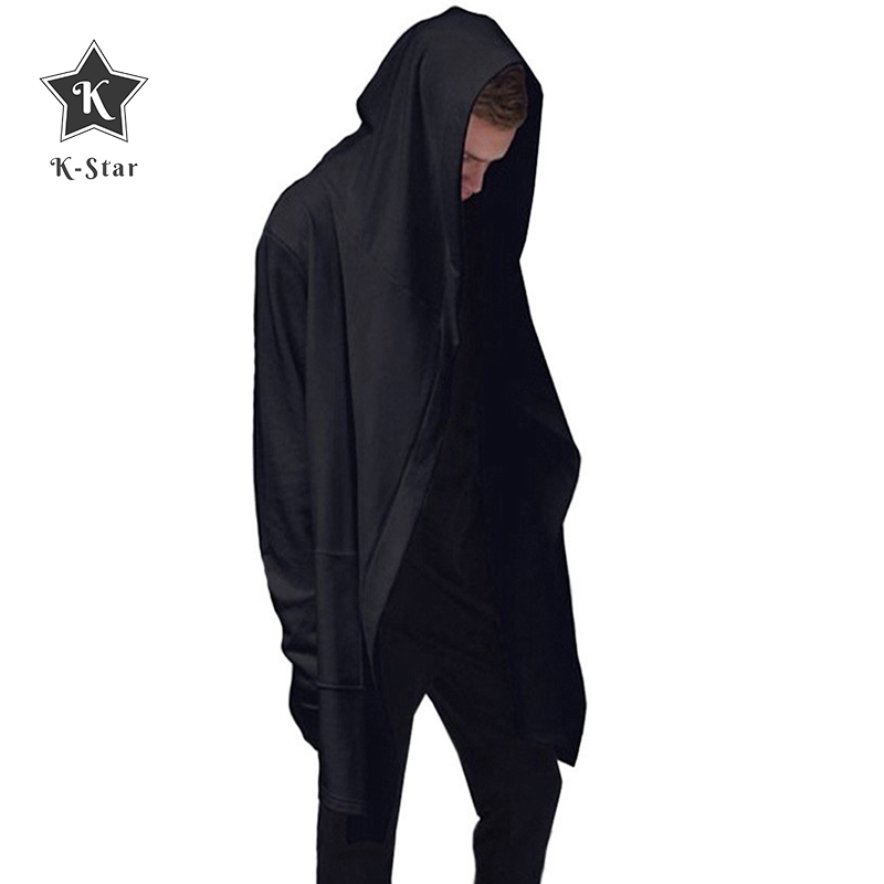 K-Star Men Hooded Sweatshirts With Black Gown Hip Hop Mantle Hoodies Fashion Jacket Long Sleeves Cloak Man's Coats Outwear