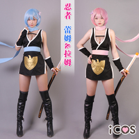 Anime Re:Life in a different world from zero Ram Rem Emilia Ninja Dress Cosplay Costume H