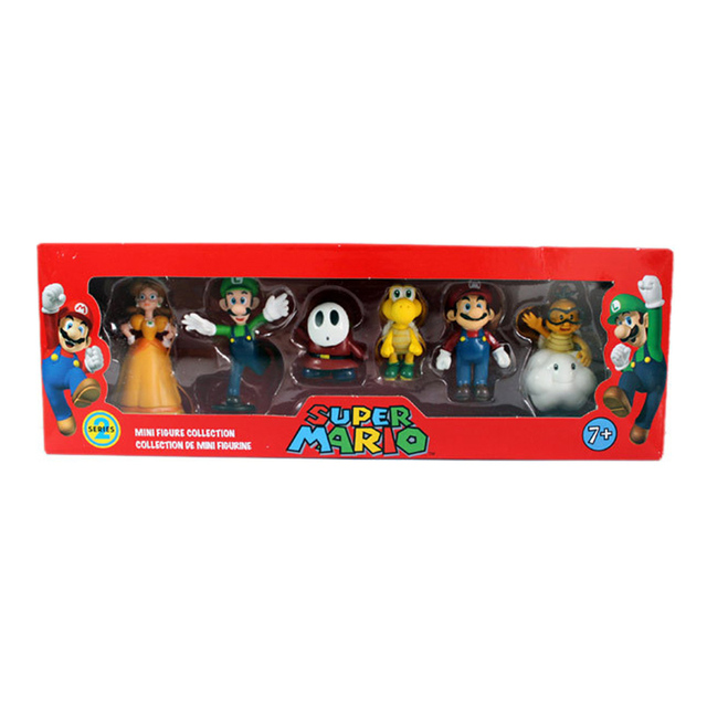 6Pcs/Set 3-7cm Super Mario Bros PVC Action Figure Toys Dolls Mario Luigi Yoshi Mushroom Donkey Kong In Gift Box Lovely Kids Gift 4