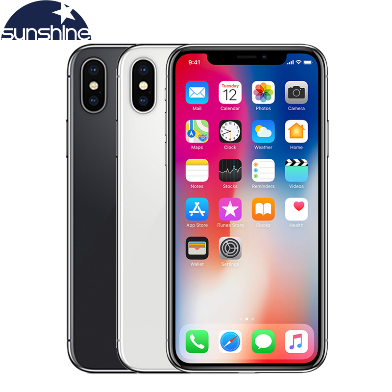 Original Unlocked Apple IPhone X 4G LTE Mobile Phone 5.8'' 12.0MP  3G RAM 64G/256G ROM Face ID Cellphone