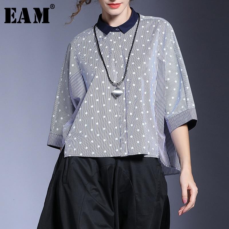 [EAM] Women Blue Striped Split Big Size Blouse New Lapel Three-quarter  Sleeve Loose Fit Shirt Fashion Spring Autumn 2020 JL953