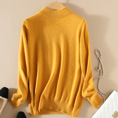 Women Cashmere 2021 New Autumn Winter Vintage Half Turtleneck Sweaters Plus Size Loose Wool Knitted Pullovers Female Knitwear11 21