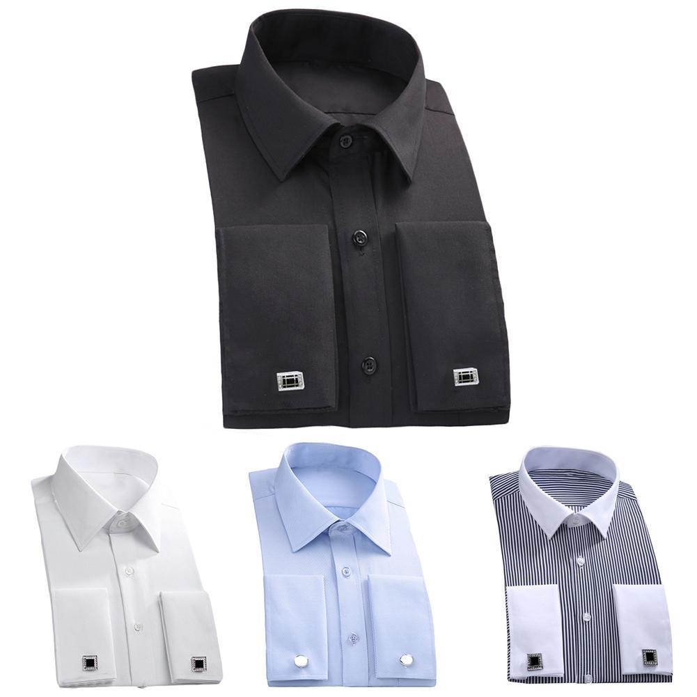 Fashion Men French Cuff Long Sleeve Cotton Business Shirt Top With Cufflinks Men's Shirts Summer Fashion Collar Blouses Top