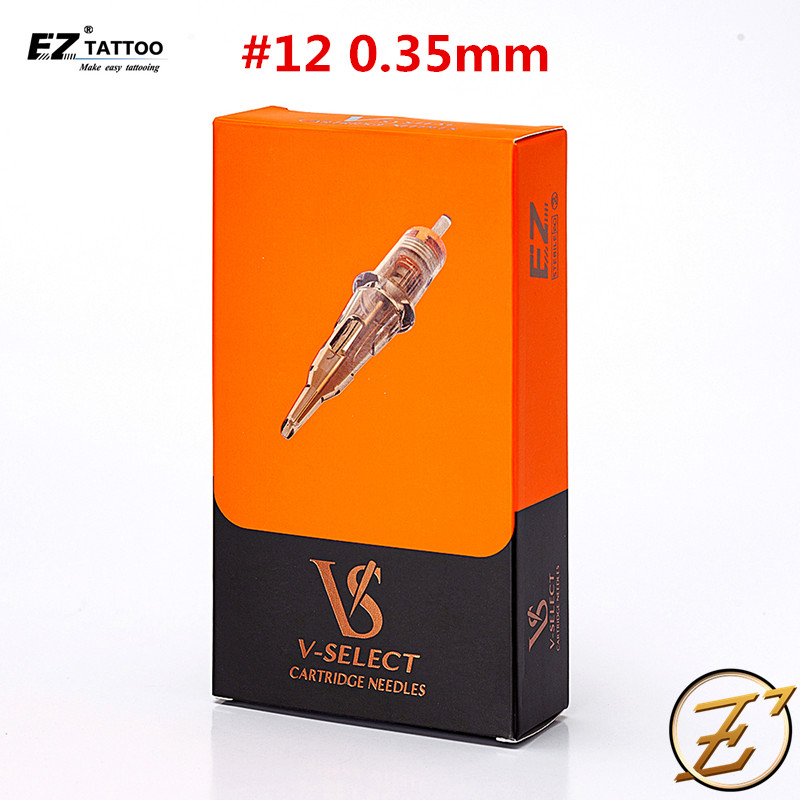 EZ V-Select Cartridge  Tattoo Needles #12 0.35mm Round Shader For Cartridge Tattoo Machine Pen Tattoo Grip 20 Pcs/Box