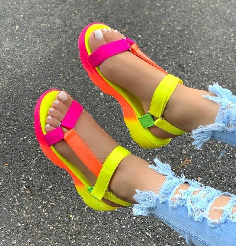 2020 Women Sandals Summer Shoes Woman Peep-toe Comfortable Sandals Slip-on Flat Casual Shoes Female Sandalias
