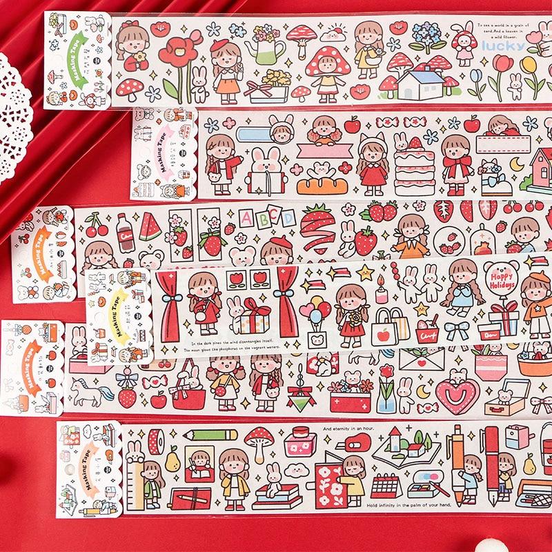 Mohamm 1 PC Long Washi Masking Tape Cartoon Cute Girl Flower Animal Stationary School Supplies Decoration