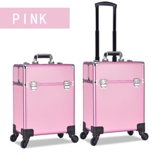 Rolling Makeup Case Trolley  Train Case on wheels Lockable Artist Makeup Cosmetics  Trolley Case Veninow makeup case portable double open aluminum travel cosmetic organizer box makeup train case professional cosmetics bag veninow