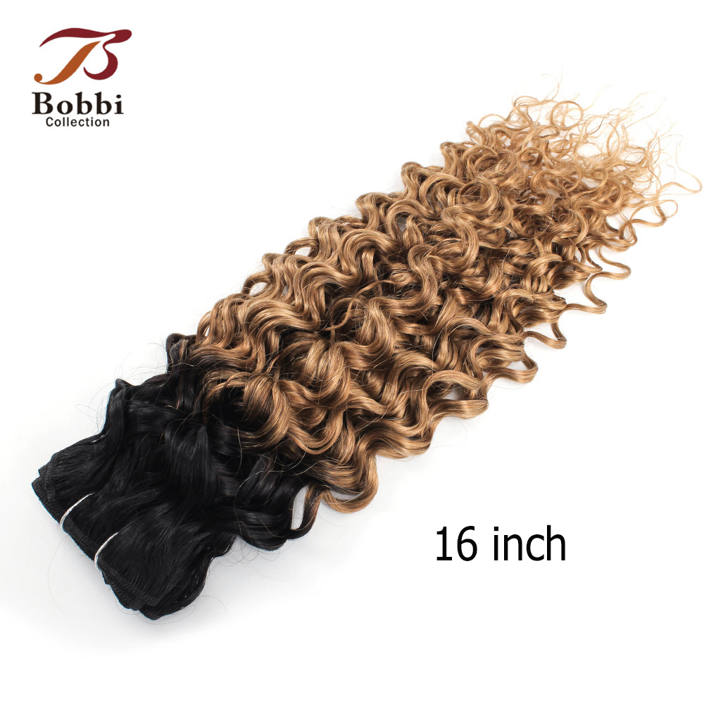 Image 4 - Bobbi Collection 1 Bundle T 1B 27 Ombre Honey Blonde Brazilian Water Wave Hair Weave 10 24 inch Non Remy Human Hair ExtensionHair Weaves   -