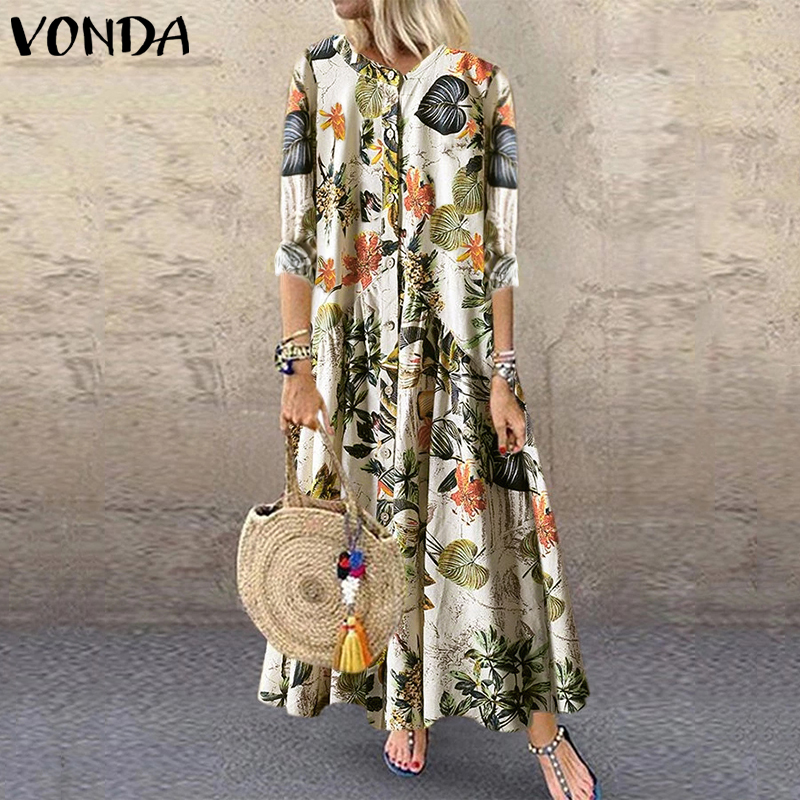 Fashion Floral Printed Maxi Dress Women Bohemian Vintage Party Dress VONDA 2020 Casual Loose Long Sleeve Vestidos Plus Size Robe(China)